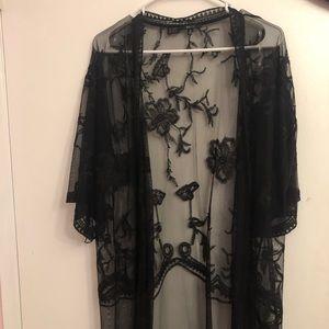 🌺Black Floral Lace Coverup